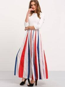 White Vertical Striped Maxi Dress