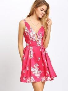 Pink Floral Embellished Waist Flare Cami Dress