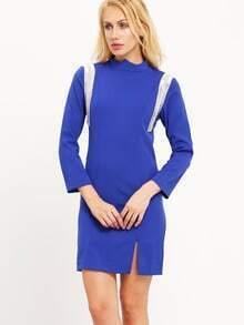 Vestido cuello mock slit -azul