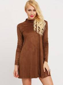 Brown Mock Neck Suede Dress