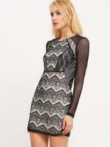 Black Eyelash Lace Bodycon Dress