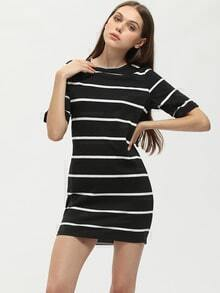 Black Striped Crew Neck T-shirt Dress