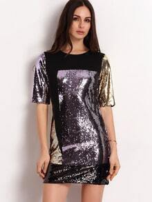 Black Color Block Sequined Dress