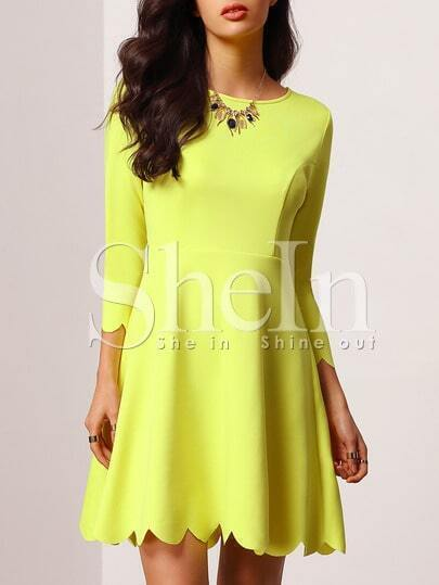 Yellow Crew Neck Scalloped A Line Dress