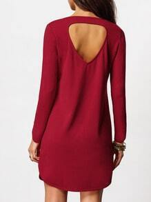 Red Cut Out Back Side Slit Dress