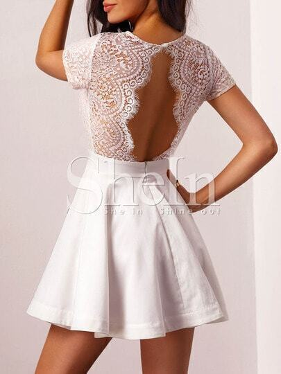 White Lace Embroidered Cut Out Back Flare Dress