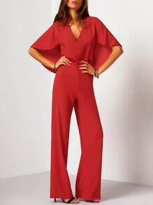 Red Tie Back Capelet Jumpsuit