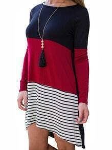 Long Sleeve Asymmetric Hem Stripe Splicing Dress