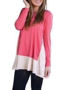 Pink Long Sleeve Loose Dress