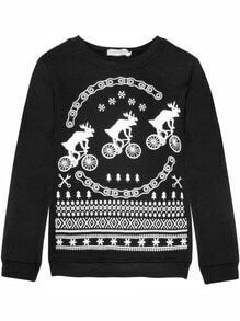 Black Thicken Deer Printing Sweatshirt