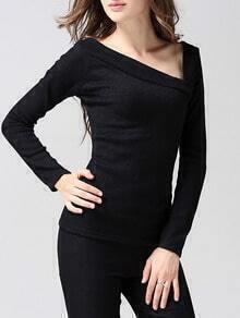 Black Asymmetrical Collar Long Sleeve Slim Knitwear