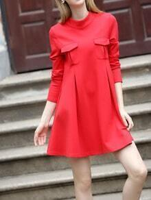 Red Crew Neck Pockets Plus Dress