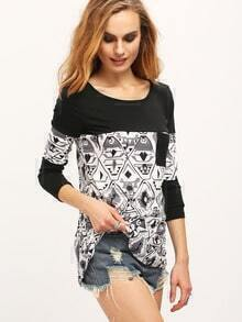 Black White Round Neck Geometric Print T-Shirt