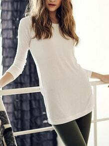 White Round Neck Long Sleeve Loose T-Shirt