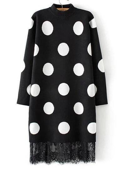 Black Mock Neck Polka Dot Lace Hem Sweater Dress