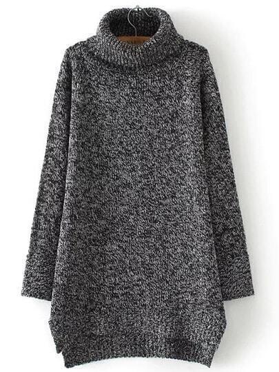 Grey Turtleneck Long Sleeve Split Loose Sweater