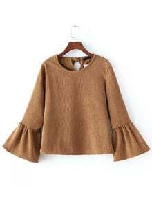 Camel Bell Sleeve Crop Corduroy Blouse