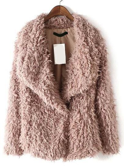 Pink Shawl Collar Faux Fur Coat