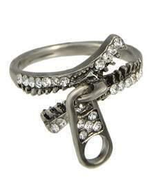 Rhinestone Zipper Shape Unique Ring Jewelry