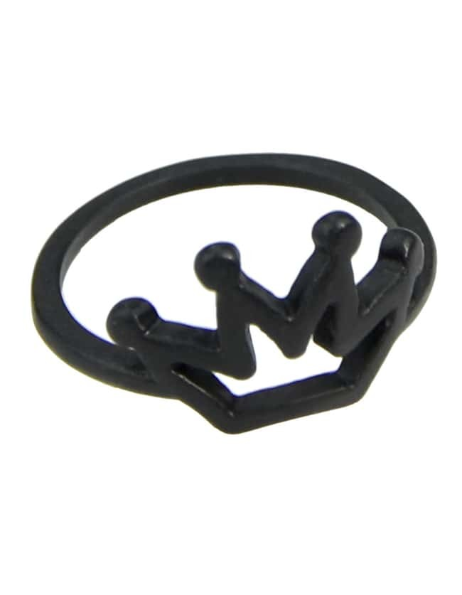 black plated simple crown alloy ring shein sheinside