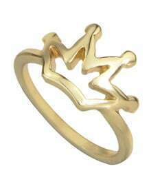 Gold Plated Simple Crown Alloy Ring