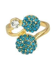 Blue Double Rhinestone Ball Women Stone Ring
