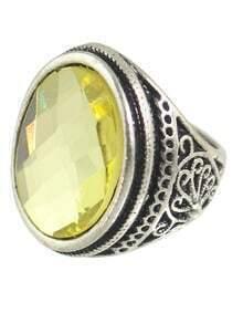 Yellow Big Single Stone Ring
