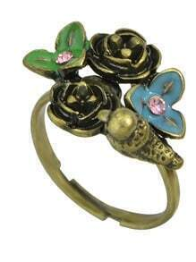 Vintage Style Colorful Flower Ring