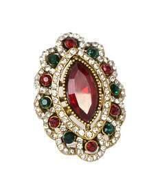 Red Rhinestone Women Ring