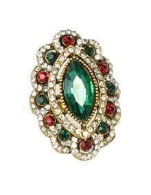 Green Rhinestone Women Ring