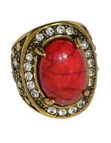 Red Simple Big Imitation Gemstone Ring
