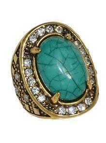 Green Simple Big Gemstone Ring