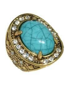 Blue Simple Big Imitation Gemstone Ring