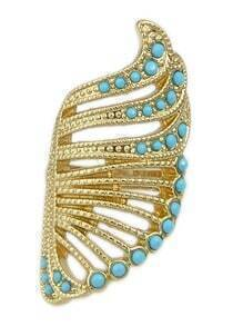 Gold Plated Blue Stone Angle Wing Long Finger Ring