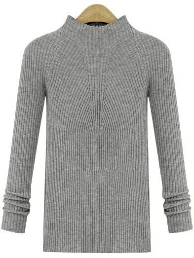 Grey Crew Neck Long Sleeve Knit Sweater