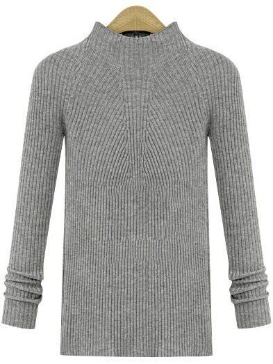 Grey Crew Neck Long Sleeve Knit Sweater