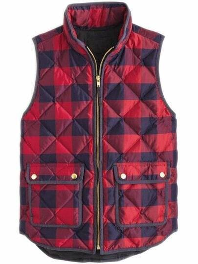 Pockets Plaid Quilted Vest