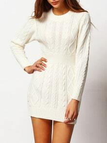 White Crew Neck Cable-knit Bodycon Sweater Dress