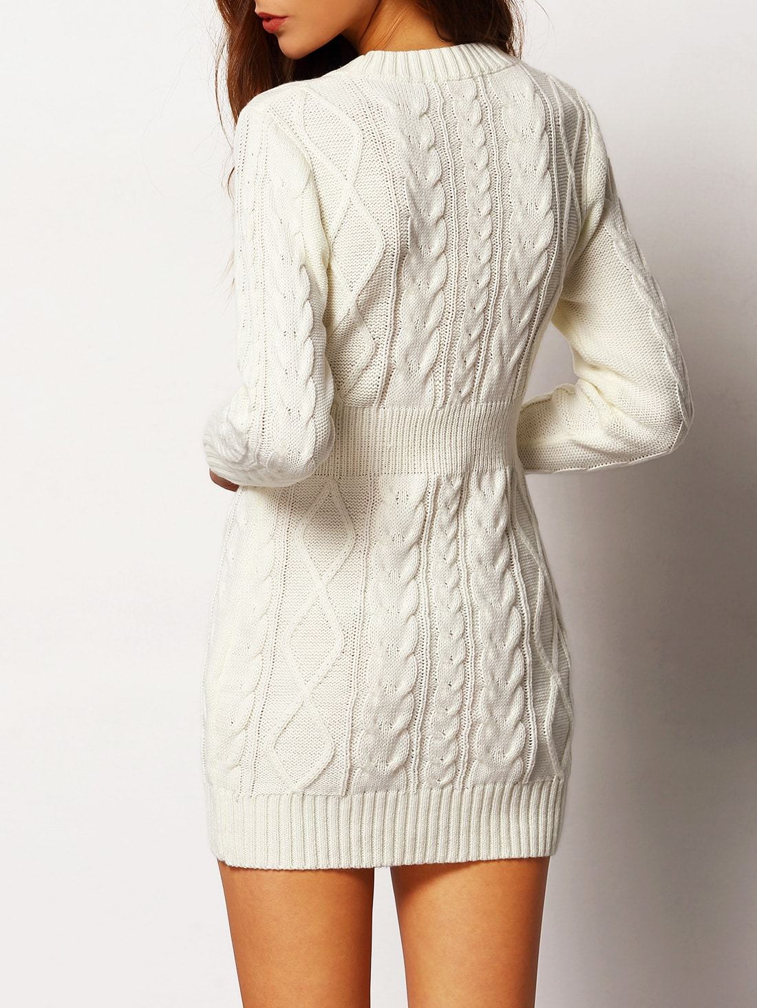 White Crew Neck Cable-knit Bodycon Sweater Dress -SheIn(Sheinside)