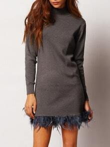 Grey Mock Neck Feather Embellished Sweater Dress