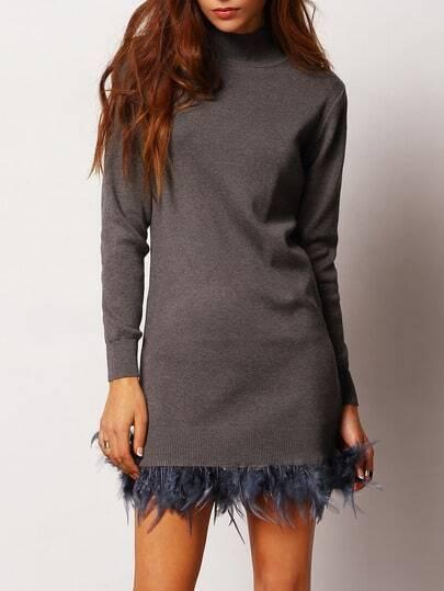 Grey Mock Neck Feather Embellished Sweater Dress