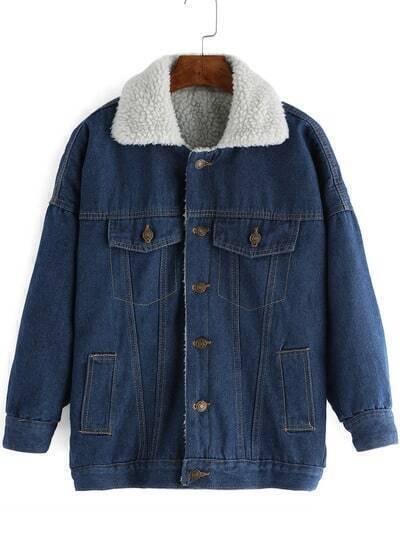 Blue Lapel Long Sleeve Single Breasted Denim Coat