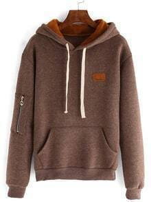 Brown Drawstring Hooded Pockets Sweatshirt