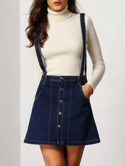 Navy Strap Buttons Denim Skirt