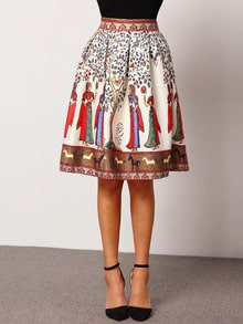 Colour High Waist Tribal Print Skirt