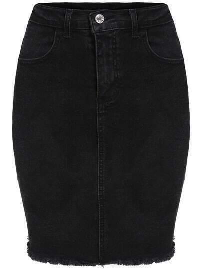 Black Frayed Denim Bodycon Skirt