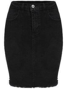 Black Frayed Denim Bodycon Skirt