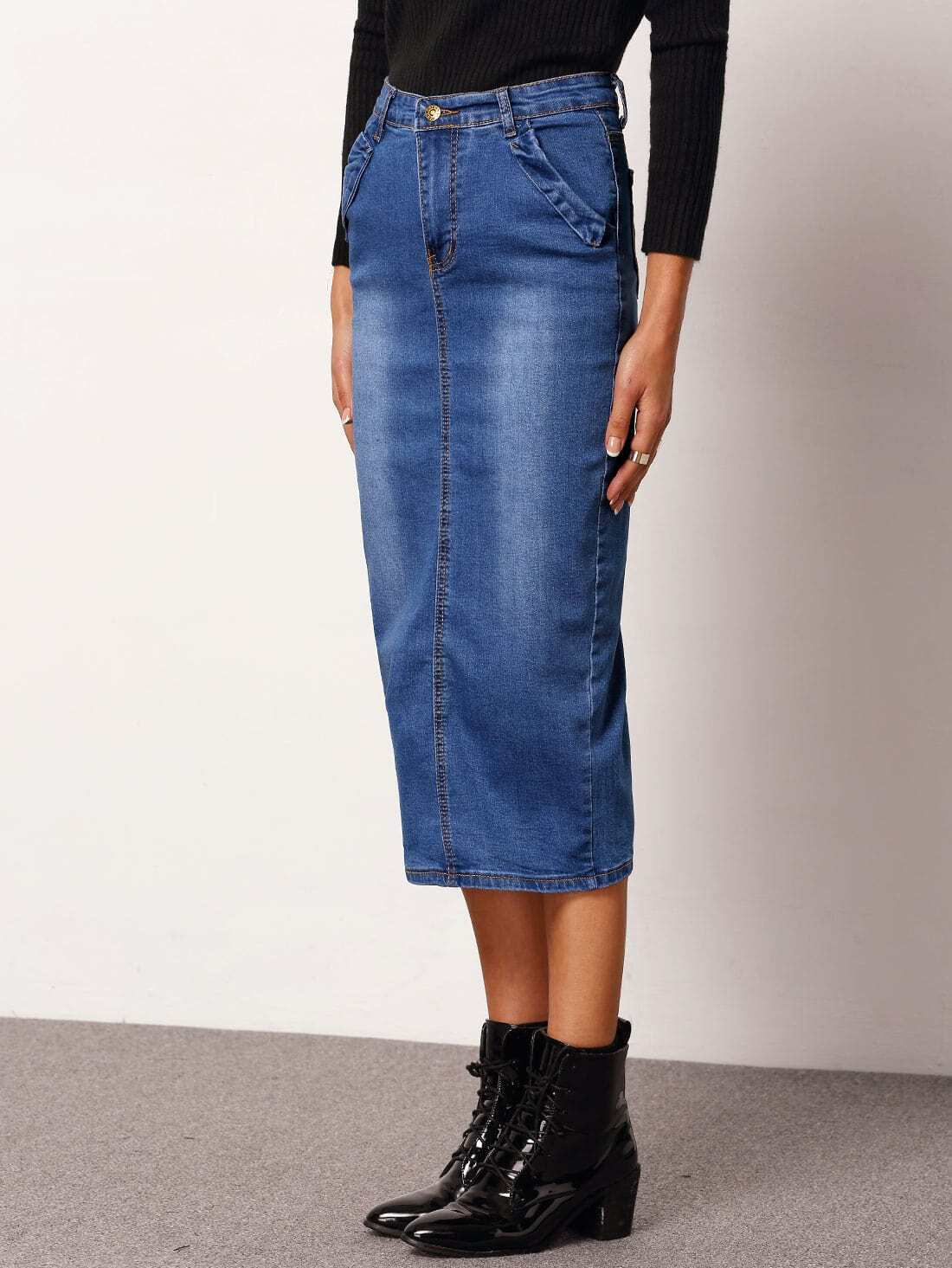 blue bleached slim denim skirt shein sheinside