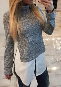 Grey Turtle Neck Split Blouse