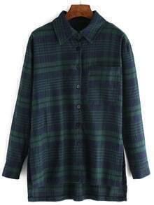 Green Blue Long Sleeve Plaid Pocket Blouse
